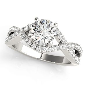 Diamond Engagement Ring with Twisted Shank White Golden