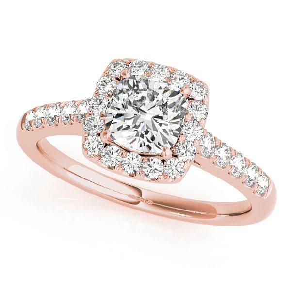 Diamond Cushion Halo Engagement Ring Rose Gold
