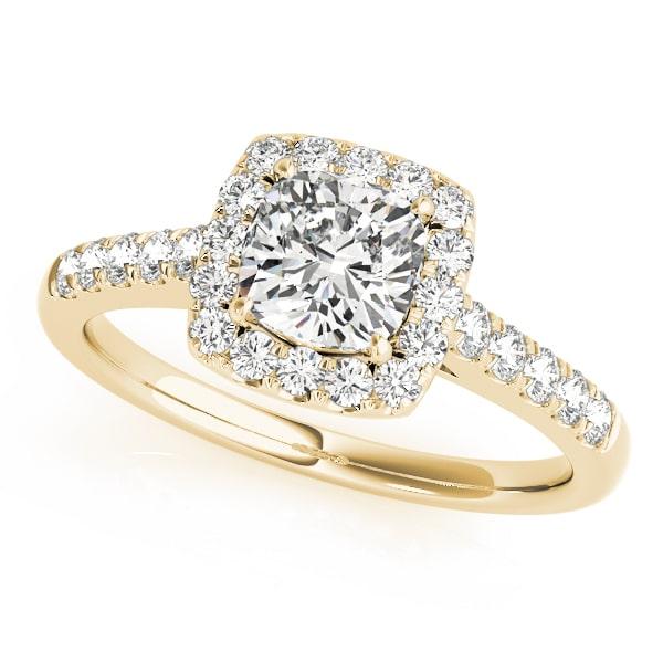 Diamond Cushion Halo Engagement Ring Yellow Gold