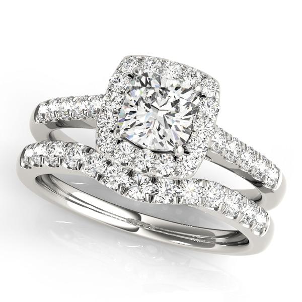 Diamond Cushion Halo Engagement Ring Platinum