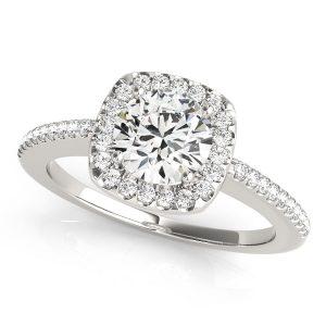 Diamond Halo Engagement Ring White Gold
