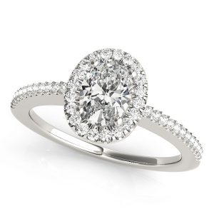 Oval Halo Engagement Ring White Gold