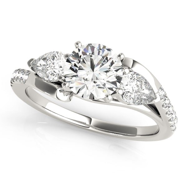 Diamond Ring With Pear Shape Side Stones