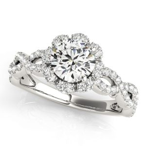 Diamond Halo Twisted Shank Ring Front Look