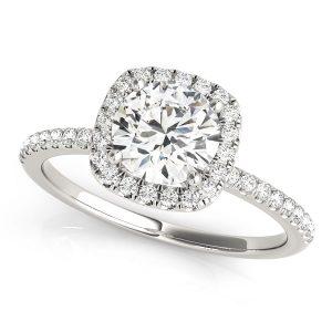 Round Halo Diamond Engagement Ring Front