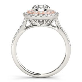 Diamond Double Halo Engagement Ring Rose Gold and Platinum