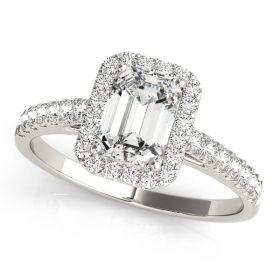 Emerald Cut Diamond Halo Engagement Ring White