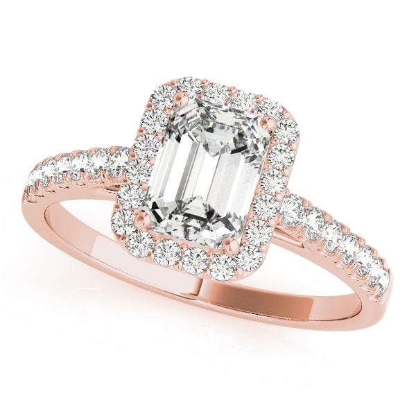 Emerald Cut Diamond Halo Engagement Ring Rose
