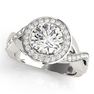 Platinum Diamond Engagement Ring with Twisted Shank Front Look