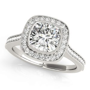 Diamond Halo Cushion Engagement Ring