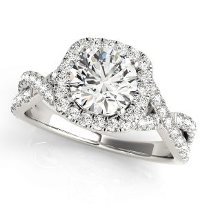Diamond Halo Engagement Ring Twisted Shank