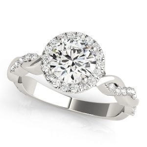Round Diamond Halo with Twisted Shank Front