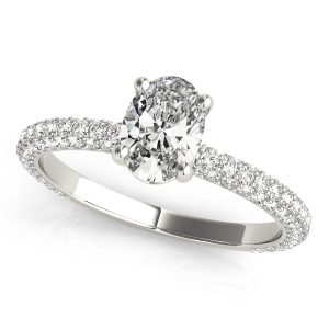 Oval Pave Diamond Engagement Ring White Gold Front