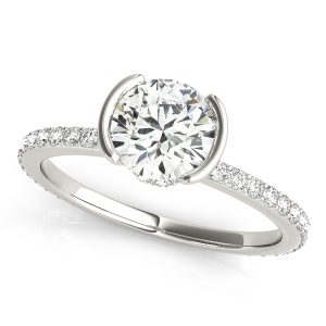Diamond Hidden Halo Engagement Ring White Gold