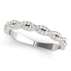 Diamond Twisted Wedding Band Front