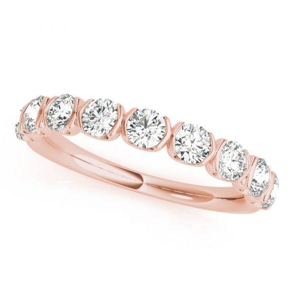 Diamond Twisted Wedding Band Pink Gold