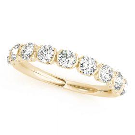 Diamond Twisted Wedding Band Golden