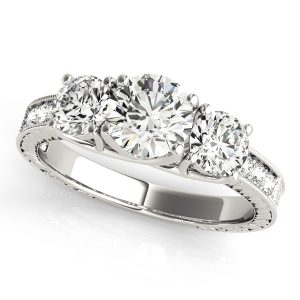 Diamond Three Stone Ring Front