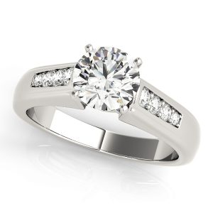 Diamond Engagement Ring With Channel Set Side Stones Front