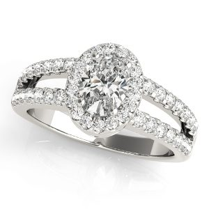 Oval Halo Engagement Ring White Gold Front Look