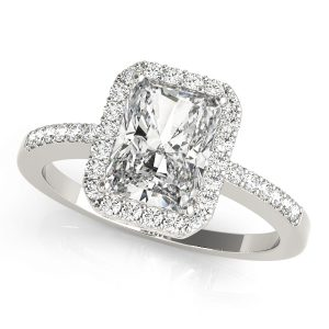 Diamond Emerald Cut Halo Engagement Ring