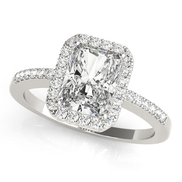 Diamond Emerald Cut Halo Engagement Ring