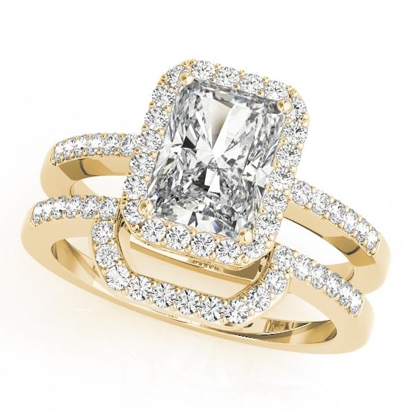 Diamond Emerald Cut Halo Engagement Ring Gold