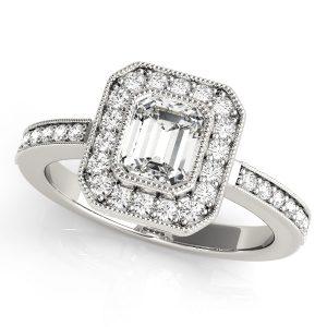 Diamond Emerald Cut Halo Engagement Ring Platinum
