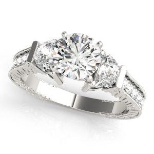 Diamond Engagement Ring Fancy Side Stones