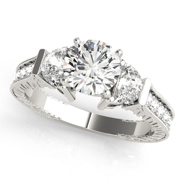 Diamond Engagement Ring Fancy Side Stones