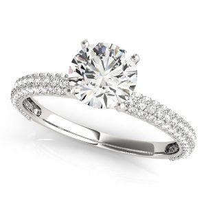 Round Diamond Pave Engagement Ring