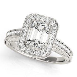 Emerald Cut Diamond Halo Engagement Ring Platinum Front