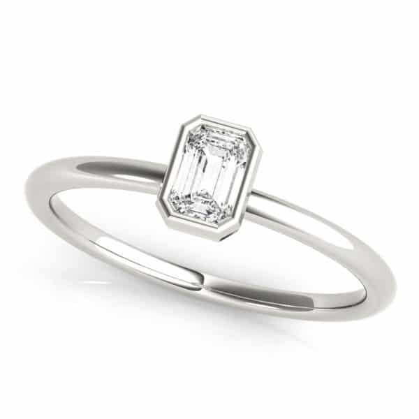 Emerald Solitaire Stackable Ring Cushioned