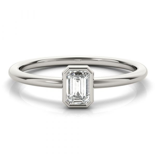 Emerald Solitaire Stackable Ring