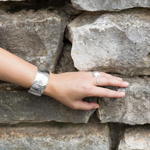 """1.25"""" Hammered Cuff Bracelet"""