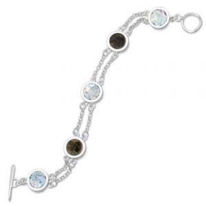 """7.75"""" 2 Strand Toggle Bracelet with Ancient Roman Glass & Antique Roman Coins File name: 22669_large.jpg"""