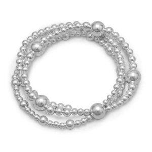 "8"" Triple Strand Silver Bead Bracelet"