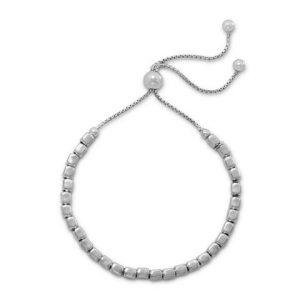Rhodium Plated Square Bead Bolo Bracelet