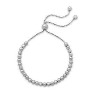 Rhodium Plated Round Bead Bolo Bracelet