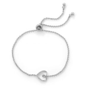 Rhodium Plated Sideways Heart Bolo Bracelet with Diamonds