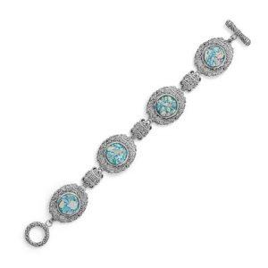 "7.5"" Ornate Roman Glass Toggle Bracelet"