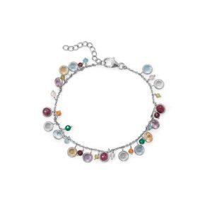 "7""+1 Rhodium Plated Multi Stone Charm Bracelet"