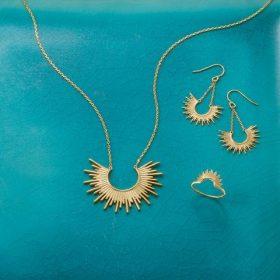 """""""Shine On!"""" 14 Karat Gold Plated Sunburst Earrings"""