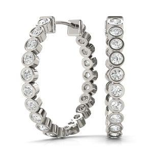 Diamond Hoop Earrings Platinum