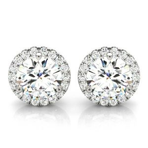 14k White Gold Round Halo Diamond Earrings (1.00cttw)