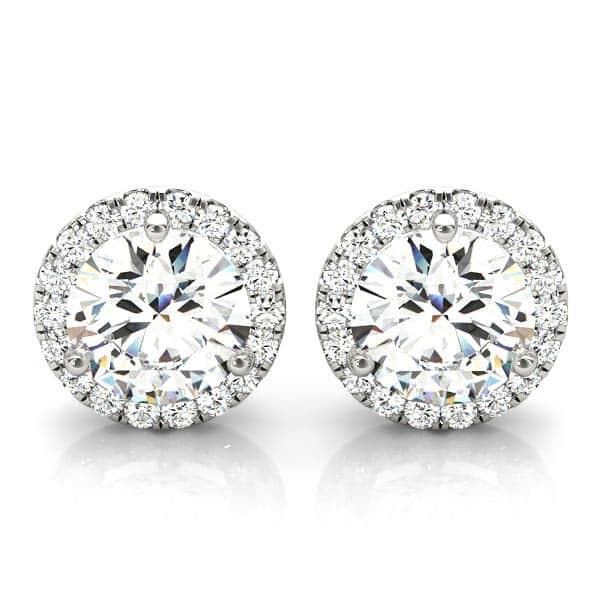 14k White Gold Round Halo Diamond Earrings (1.00cttw)