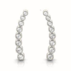 White Gold and Diamond Climbing Earrings