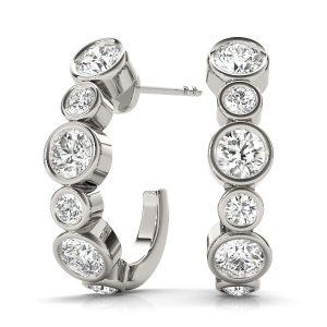 White Gold J Hoop Diamond Earrings
