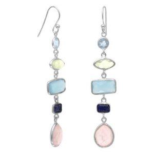 Gorgeous Multi stone Long Drop Earrings