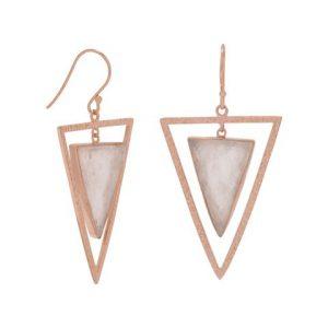 14 Karat Rose Gold Plated Rose Quartz Triangle Earrings